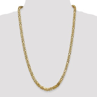14 Karat Yellow Gold 5.25mm Byzantine Chain Necklace