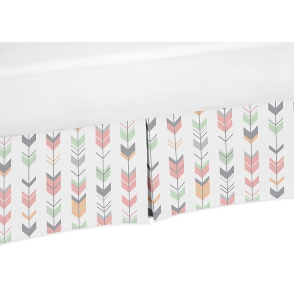 Sweet Jojo Designs Coral and Mint Mod Arrow Collection Crib Skirt