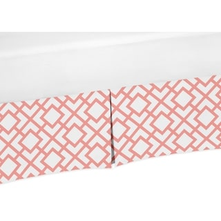 Sweet Jojo Designs White and Coral Mod Diamond Collection Crib Bed Skirt