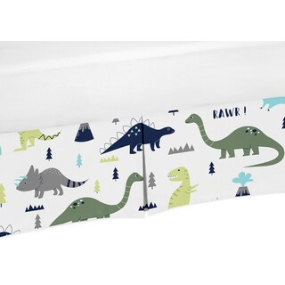Sweet Jojo Designs Blue and Green Mod Dinosaur Collection Microfiber Crib Bed Skirt