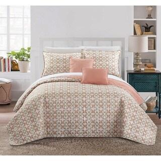 Chic Home 9-piece Pamelia Corol Fleur De Lis Patterned Reversible Quilt Set