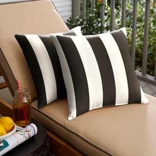 Elegant Duvall II Sunbrella Cabana Classic Indoor/ Outdoor 18 Inch Knife Edge  Pillow Set