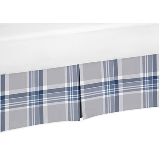 Sweet Jojo Designs Navy Blue and Gray Plaid Collection Crib Bed Skirt