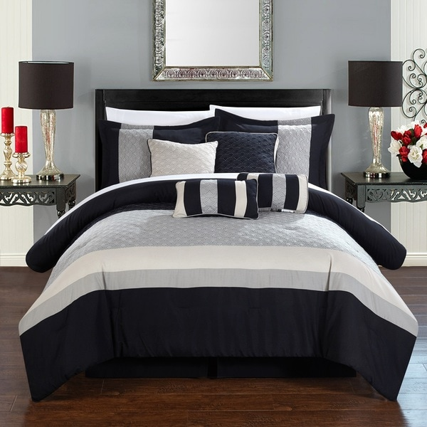 Chic Home 8-Piece Delmonte Grey and Black Comforter Set