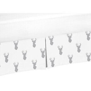 Sweet Jojo Designs Grey Woodland Deer Collection Crib Bed Skirt