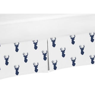 Sweet Jojo Designs Navy and White Woodland Deer Collection Navy Blue Crib Bed Skirt