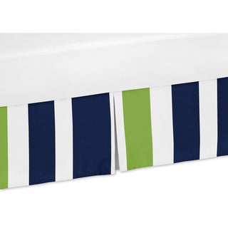 Sweet Jojo Designs Navy and Lime Stripe Collection Microfiber Crib Bed Skirt