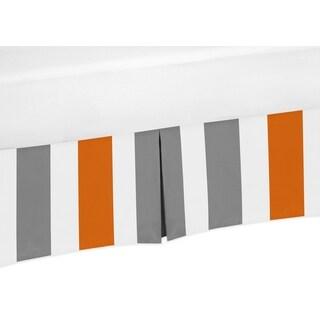Sweet Jojo Designs Grey and Orange Stripe Collection Crib Bedskirt
