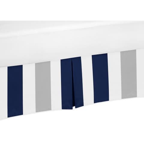 Sweet Jojo Designs Navy Blue and Grey Stripe Collection Crib Bed Skirt