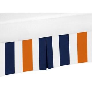 Sweet Jojo Designs Navy Blue and Orange Stripe Collection Crib Bed Skirt