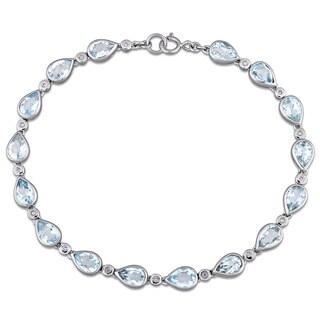 Miadora Sterling Silver Sky-Blue Topaz and Diamond Accent Teardrop Shape Tennis Bracelet (G-H, I1-I2)
