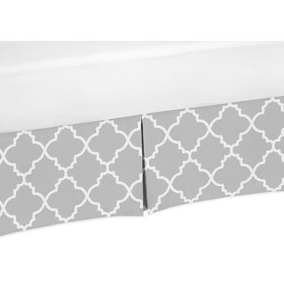 Sweet Jojo Designs Gray and White Trellis Collection Crib Bed Skirt