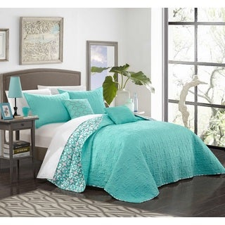 Chic Home 5-Piece Pamelia Quilted Aqua Fleur De Lis Patterned Reversible Printed Quilt Set