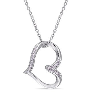 Miadora Sterling Silver 1/10ct TDW Diamond Tilted Open-Heart Necklace
