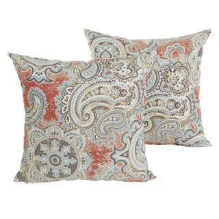 Laurel Creek Ira Coral Paisley 18-inch Knife Edging Pillow Set
