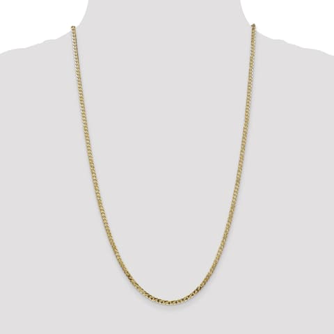 Versil 14 Karat Yellow Gold 2.9mm Solid Polished Beveled Curb Chain