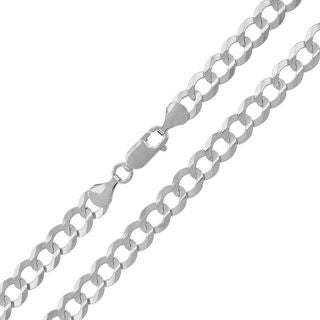 14k White Gold 7mm Solid Cuban Curb Link Chain Necklace