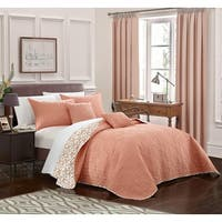 Chic Home 5-Piece Pamelia Quilted Fleur De Lis Coral Reversible Quilt Set