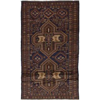 ecarpetgallery Hand Knotted Teimani Blue, Brown  Wool Rug (3'8 x 6'4)