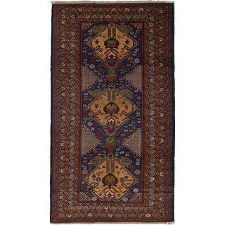 ecarpetgallery Hand Knotted Teimani Blue, Brown  Wool Rug (3'6 x 6'4)