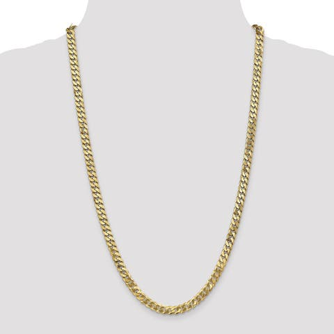 Versil 14 Karat Yellow Gold 6.1mm Solid Polished Flat Curb Chain Necklace