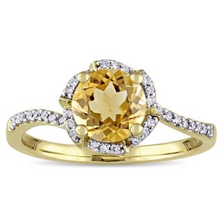 Miadora Signature Collection 10k Yellow Gold Citrine and 1/10ct TDW Diamond Flower Halo Engagement Ring (G-H, I2-I3)