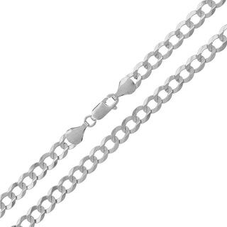 14k White Gold 5.5 mm Solid Cuban Curb Link Necklace Chain