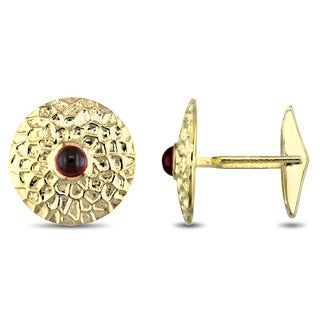 Miadora Signature Collection 14k Yellow Gold Garnet Center Textured Cufflinks