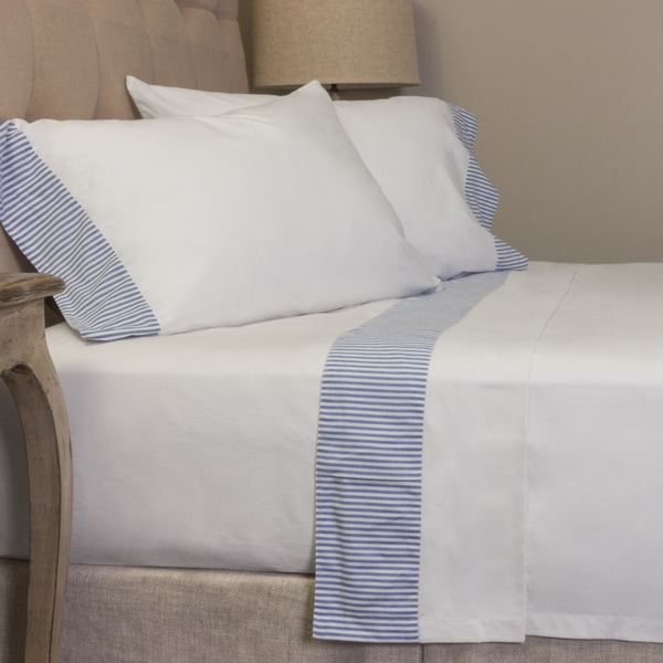 Cotton Percale White with Blue Stripe Sheet Set