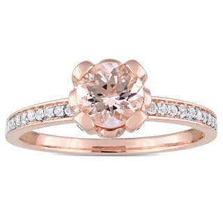 Miadora Signature Collection 10k Rose Gold Morganite and White Topaz Flower Halo Slender Engagement Ring