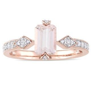 Miadora Signature Collection 10k Rose Gold Octagon-Cut Morganite and 1/10ct TDW Diamond Engagement Ring (G-H, I2-I3)