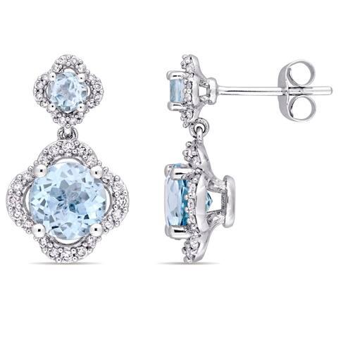 Miadora Signature Collection 14k White Gold Sky-Blue Topaz 2/5ct TDW Diamond Quatrefoil Halo Dangle Earrings (G-H,I1-I2) - Blue