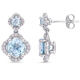 Miadora Signature Collection 14k White Gold Sky-Blue Topaz 2/5ct TDW Diamond Quatrefoil Halo Dangle Earrings (G-H,I1-I2)
