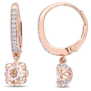 Miadora Signature Collection 10k Rose Gold Morganite and White Topaz Halo Leverback Dangle Earrings
