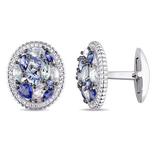 Miadora Sterling Silver Blue and White Sapphire Oval-Shape Clustered Halo Cufflinks