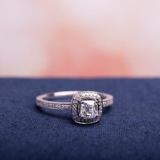 Miadora Signature Collection 14k White Gold 3/4ct TDW Cushion and Round Cut Diamond Halo Engagement Ring (G-H, I1-I2)