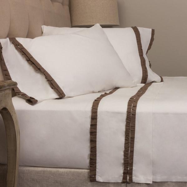 Dainty Walnut Brown Ruffle Sheet Set