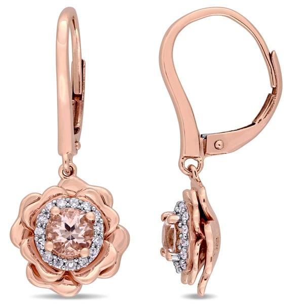 2b34d30398343 Shop Miadora Signature Collection 10k Rose Gold Morganite and 1/6ct ...