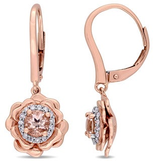Miadora Signature Collection 10k Rose Gold Morganite and 1/6ct TDW Diamond Flower Halo Leverback Earrings (G-H, I2-I3)