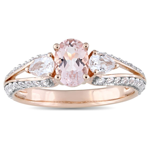 Miadora Signature Collection 10k Rose Gold Oval-Cut Morganite and White Topaz Vintage Split Shank Engagement Ring