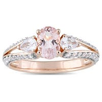 Miadora Signature Collection 10k Rose Gold Oval-Cut Morganite and White Topaz Vintage Split Shank En - Pink