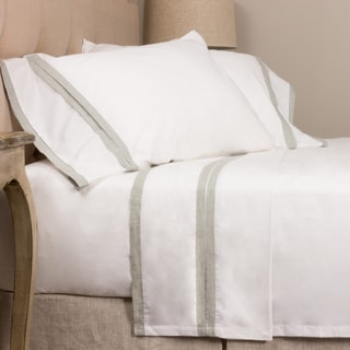 Linen Color Banded Cotton Sheet Set