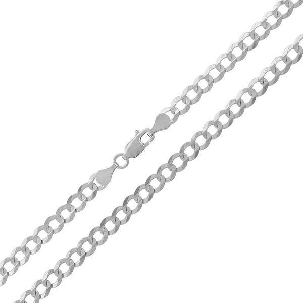 """14k White Gold 4.5mm Solid Cuban Curb Link Necklace Chain 18"""" - 30"""""""