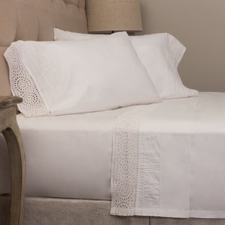 Eyelet White Cotton Sheet Set
