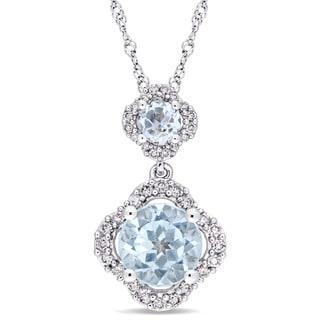 Miadora Signature Collection 14k White Gold Blue Topaz And 1 5ct TDW Diamond Graduated Quatrefoil Necklace G H I1 I2