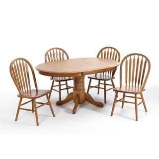 LYKE Home Oak Wood 18-inch Leaf 5-piece Dining Set