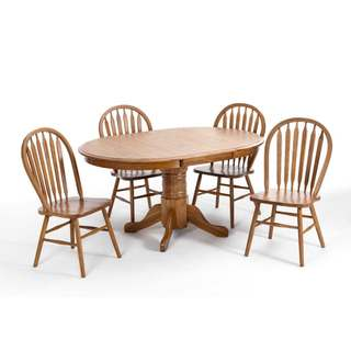 LYKE Home Oak Wood 18-inch Leaf 5-piece Dining Set