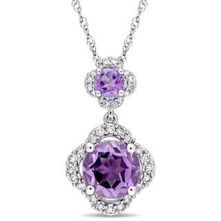 Miadora Signature Collection 14k White Gold Amethyst 1/5ct TDW Diamond Graduated Quatrefoil Dangle Necklace (G-H,I1-I2)