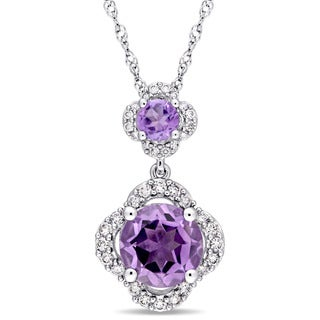 Miadora Signature Collection 14k White Gold Amethyst 1/5ct TDW Diamond Graduated Quatrefoil Dangle Necklace (G-H,I1-I2)