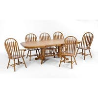 LYKE Home Oak 5-piece Double Pedestal Dining Set